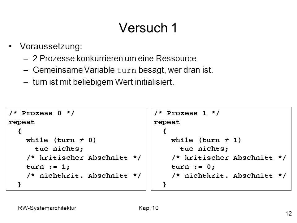 RW-SystemarchitekturKap. 10 12 Versuch 1 Voraussetzung: –2 Prozesse konkurrieren um eine Ressource –Gemeinsame Variable turn besagt, wer dran ist. –tu