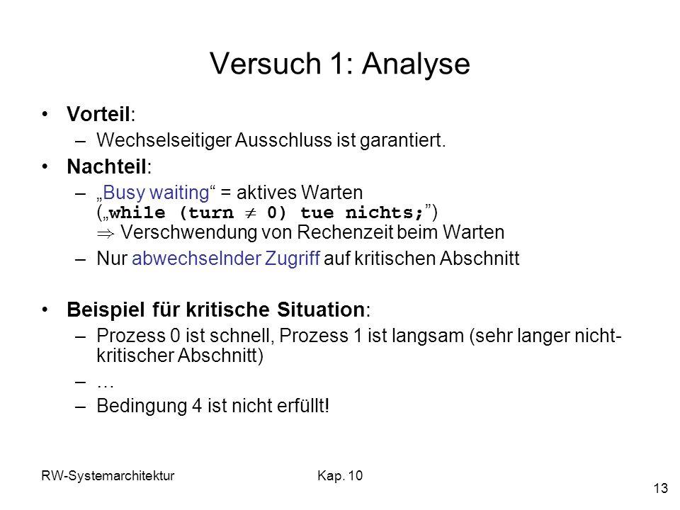 RW-SystemarchitekturKap. 10 13 Versuch 1: Analyse Vorteil: –Wechselseitiger Ausschluss ist garantiert. Nachteil: –Busy waiting = aktives Warten ( whil
