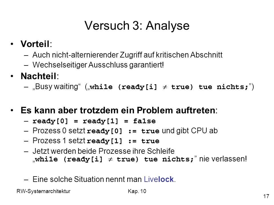RW-SystemarchitekturKap. 10 17 Versuch 3: Analyse Vorteil: –Auch nicht-alternierender Zugriff auf kritischen Abschnitt –Wechselseitiger Ausschluss gar