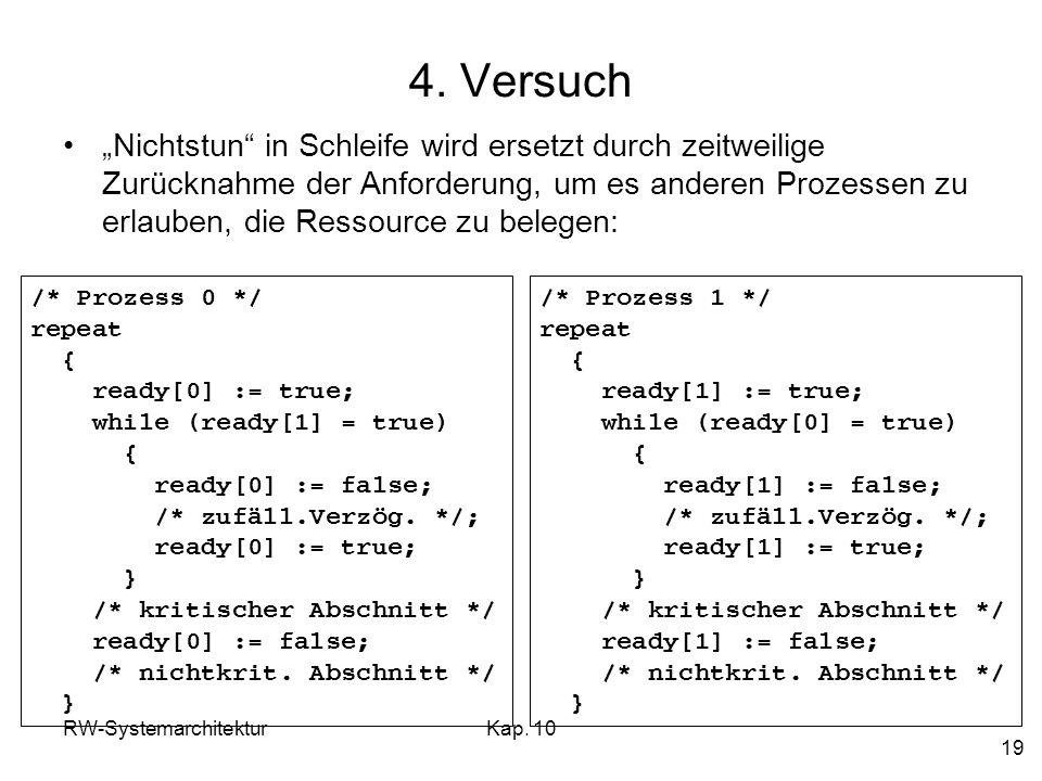 RW-SystemarchitekturKap. 10 19 4. Versuch Nichtstun in Schleife wird ersetzt durch zeitweilige Zurücknahme der Anforderung, um es anderen Prozessen zu