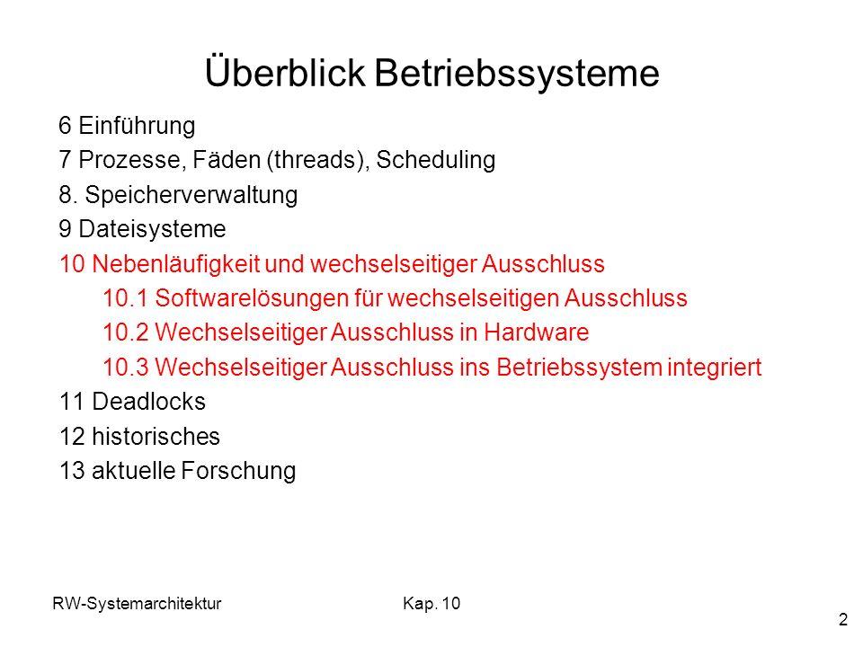 RW-SystemarchitekturKap. 10 2 Überblick Betriebssysteme 6 Einführung 7 Prozesse, Fäden (threads), Scheduling 8. Speicherverwaltung 9 Dateisysteme 10 N