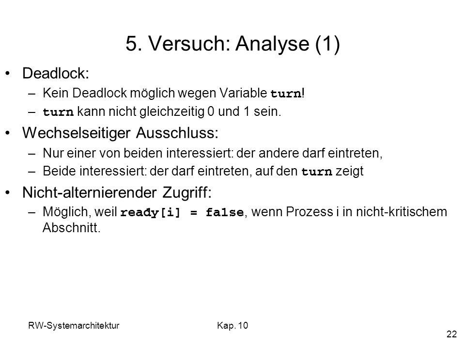 RW-SystemarchitekturKap. 10 22 5. Versuch: Analyse (1) Deadlock: –Kein Deadlock möglich wegen Variable turn ! – turn kann nicht gleichzeitig 0 und 1 s