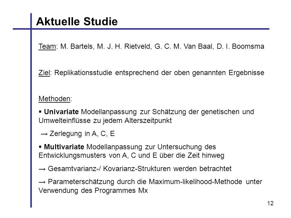 12 Aktuelle Studie Team: M. Bartels, M. J. H. Rietveld, G. C. M. Van Baal, D. I. Boomsma Ziel: Replikationsstudie entsprechend der oben genannten Erge