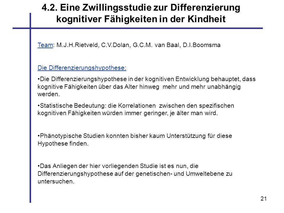 21 4.2. Eine Zwillingsstudie zur Differenzierung kognitiver Fähigkeiten in der Kindheit Team: M.J.H.Rietveld, C.V.Dolan, G.C.M. van Baal, D.I.Boomsma