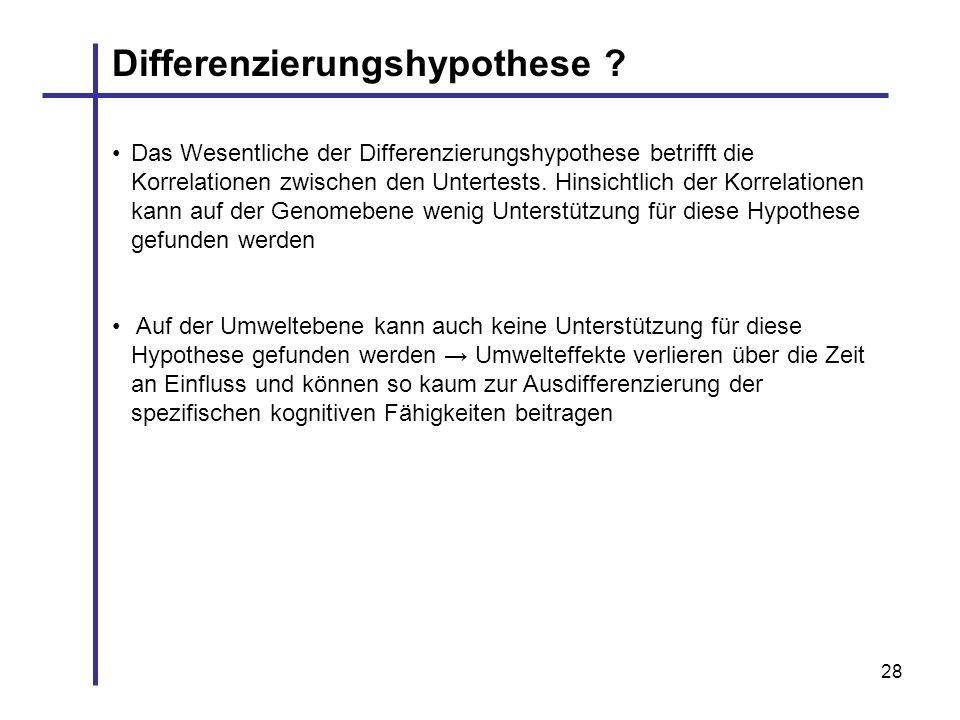 28 Das Wesentliche der Differenzierungshypothese betrifft die Korrelationen zwischen den Untertests. Hinsichtlich der Korrelationen kann auf der Genom