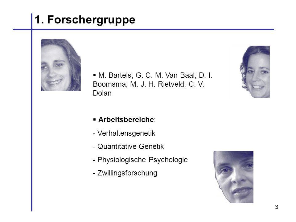 3 1. Forschergruppe M. Bartels; G. C. M. Van Baal; D. I. Boomsma; M. J. H. Rietveld; C. V. Dolan Arbeitsbereiche: - Verhaltensgenetik - Quantitative G