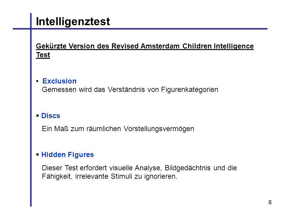 6 Intelligenztest Gekürzte Version des Revised Amsterdam Children Intelligence Test Exclusion Gemessen wird das Verständnis von Figurenkategorien Disc