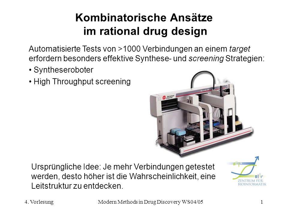 4. VorlesungModern Methods in Drug Discovery WS04/051 Kombinatorische Ansätze im rational drug design Automatisierte Tests von >1000 Verbindungen an e