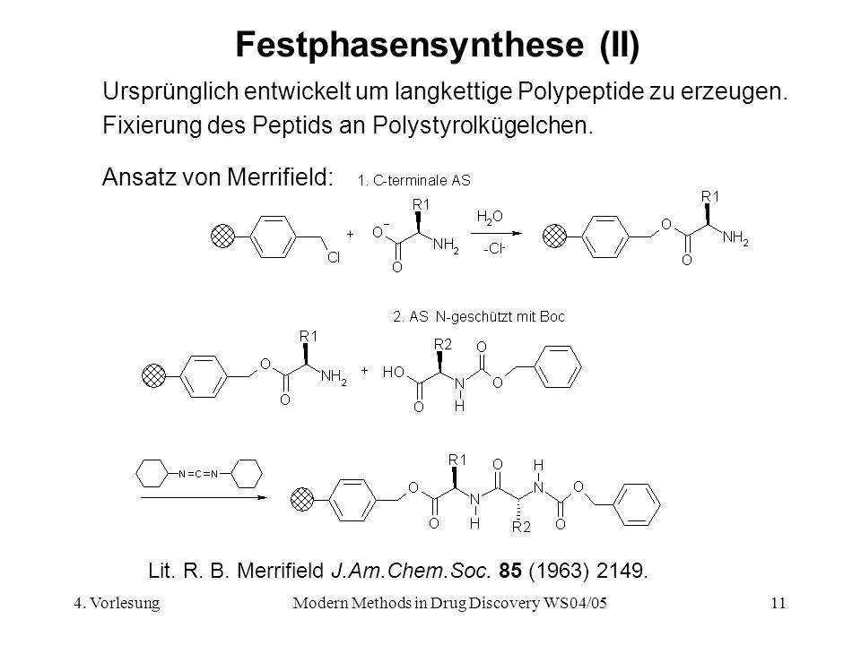4. VorlesungModern Methods in Drug Discovery WS04/0511 Festphasensynthese (II) Ursprünglich entwickelt um langkettige Polypeptide zu erzeugen. Fixieru