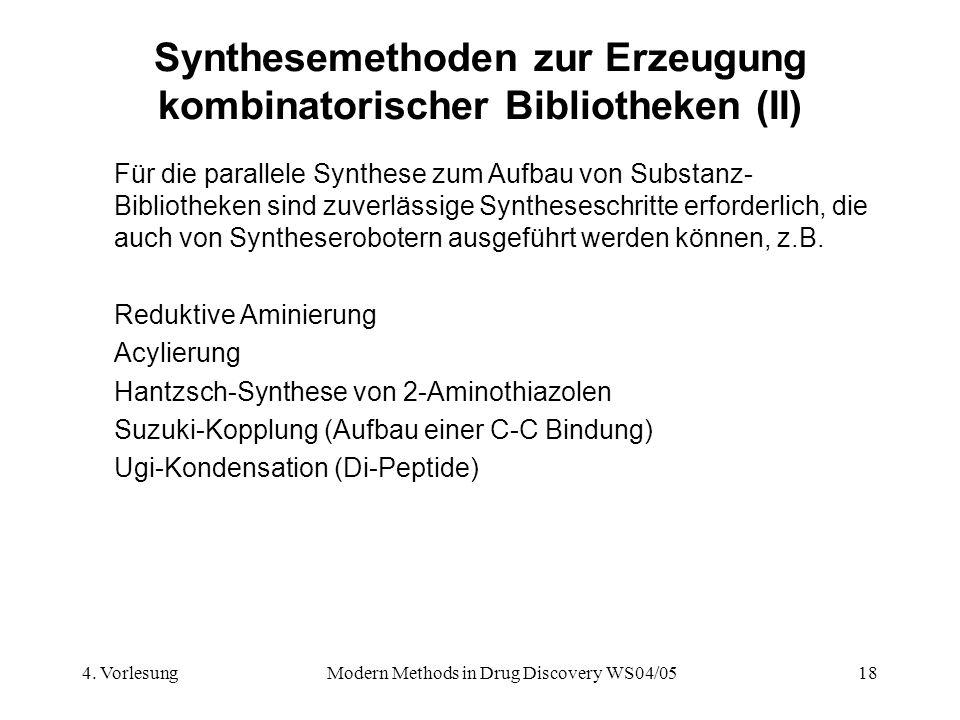 4. VorlesungModern Methods in Drug Discovery WS04/0518 Synthesemethoden zur Erzeugung kombinatorischer Bibliotheken (II) Für die parallele Synthese zu