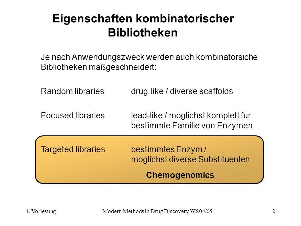 4. VorlesungModern Methods in Drug Discovery WS04/052 Eigenschaften kombinatorischer Bibliotheken Je nach Anwendungszweck werden auch kombinatorsiche