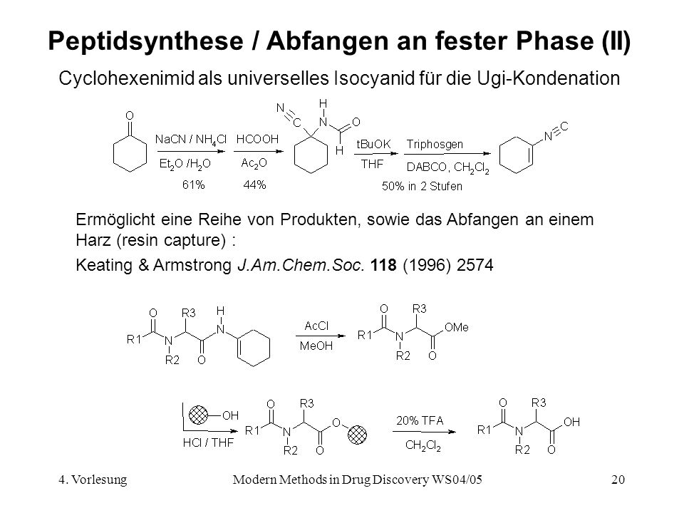 4. VorlesungModern Methods in Drug Discovery WS04/0520 Peptidsynthese / Abfangen an fester Phase (II) Cyclohexenimid als universelles Isocyanid für di
