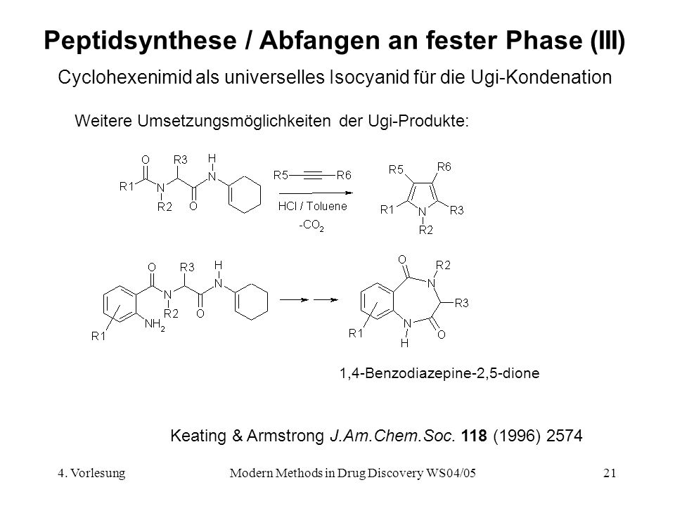 4. VorlesungModern Methods in Drug Discovery WS04/0521 Peptidsynthese / Abfangen an fester Phase (III) Cyclohexenimid als universelles Isocyanid für d