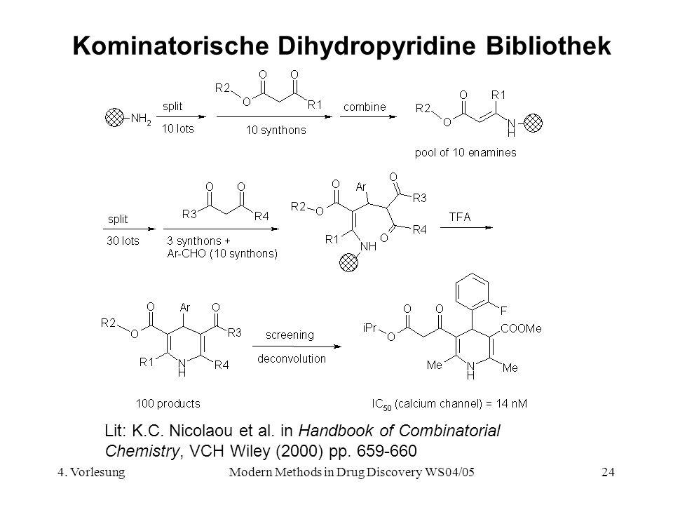 4. VorlesungModern Methods in Drug Discovery WS04/0524 Kominatorische Dihydropyridine Bibliothek Lit: K.C. Nicolaou et al. in Handbook of Combinatoria