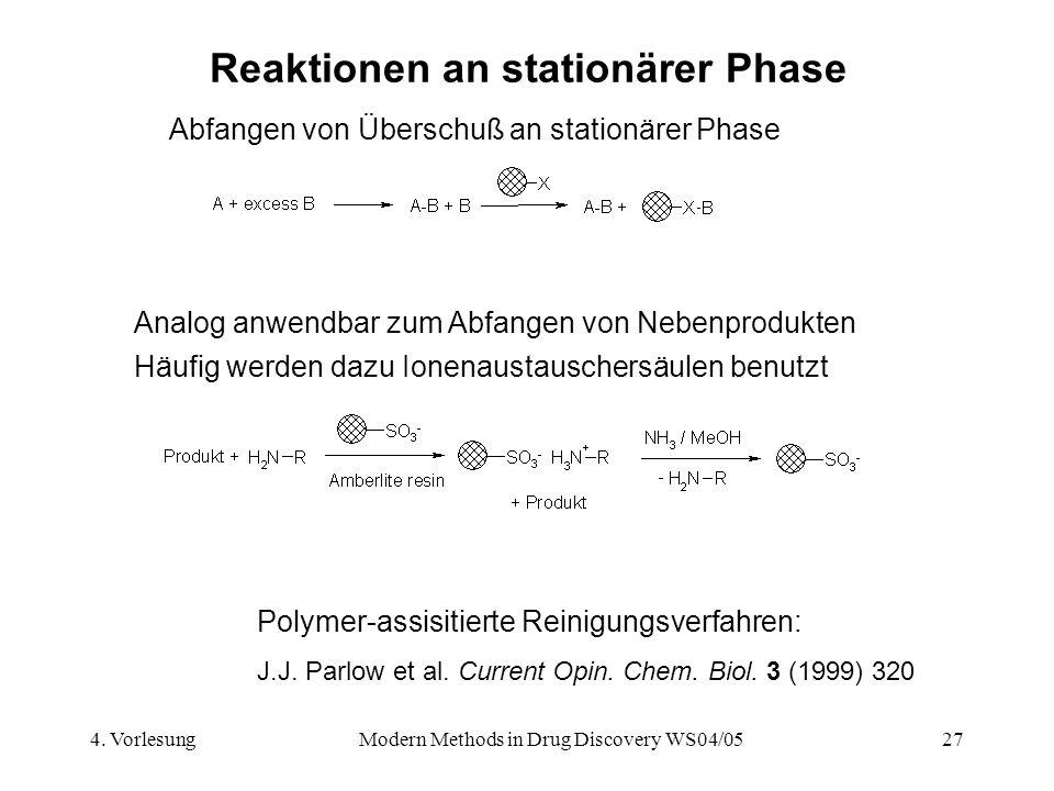 4. VorlesungModern Methods in Drug Discovery WS04/0527 Reaktionen an stationärer Phase Abfangen von Überschuß an stationärer Phase Analog anwendbar zu