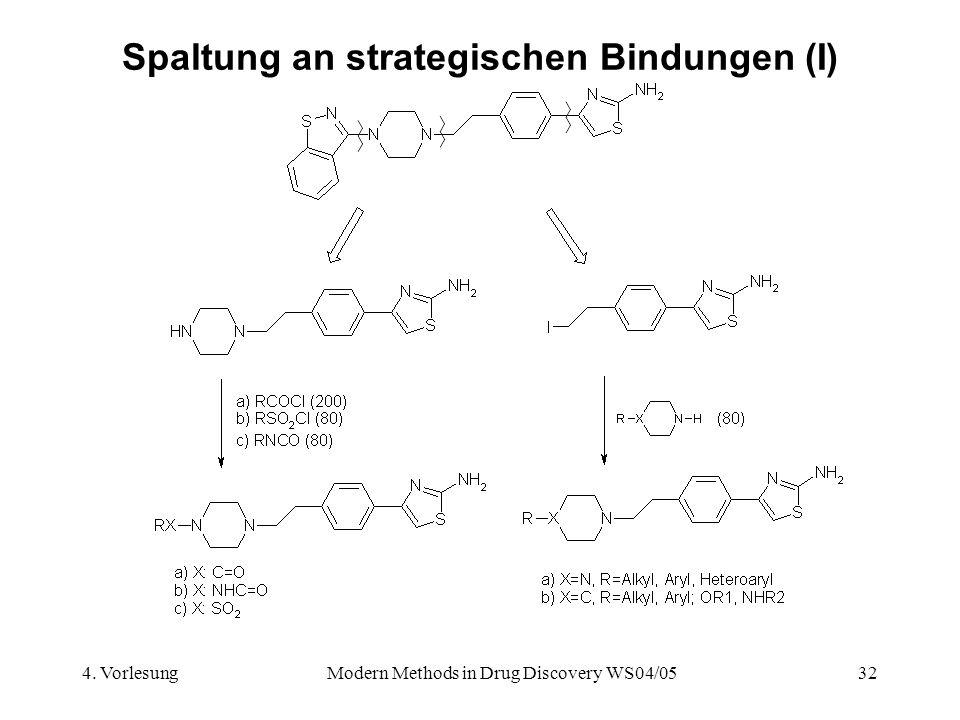 4. VorlesungModern Methods in Drug Discovery WS04/0532 Spaltung an strategischen Bindungen (I)