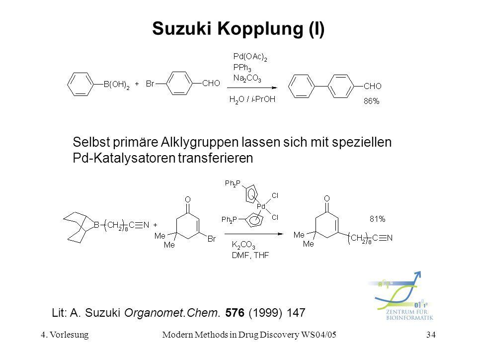 4. VorlesungModern Methods in Drug Discovery WS04/0534 Suzuki Kopplung (I) Lit: A. Suzuki Organomet.Chem. 576 (1999) 147 Selbst primäre Alklygruppen l