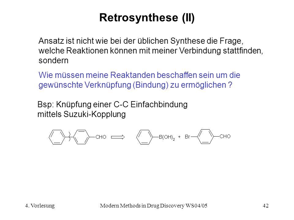 4. VorlesungModern Methods in Drug Discovery WS04/0542 Retrosynthese (II) Ansatz ist nicht wie bei der üblichen Synthese die Frage, welche Reaktionen
