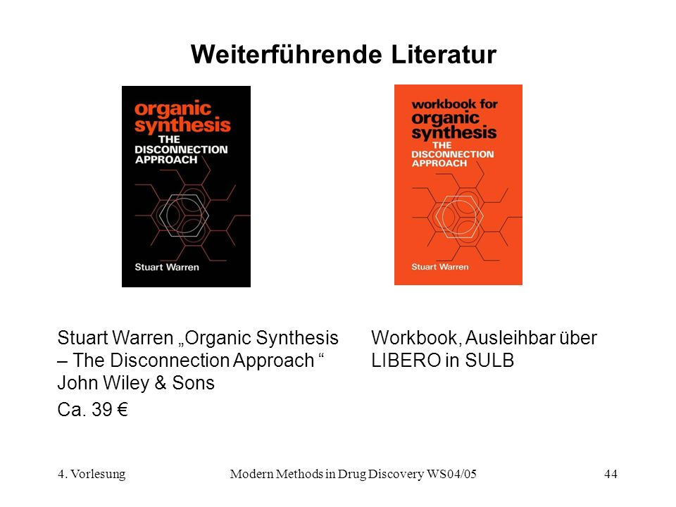 4. VorlesungModern Methods in Drug Discovery WS04/0544 Weiterführende Literatur Stuart Warren Organic Synthesis – The Disconnection Approach John Wile