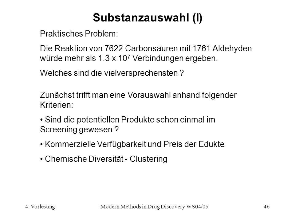 4. VorlesungModern Methods in Drug Discovery WS04/0546 Substanzauswahl (I) Praktisches Problem: Die Reaktion von 7622 Carbonsäuren mit 1761 Aldehyden