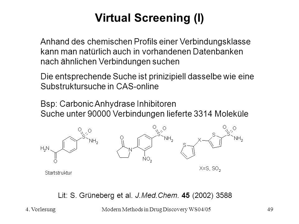 4. VorlesungModern Methods in Drug Discovery WS04/0549 Virtual Screening (I) Anhand des chemischen Profils einer Verbindungsklasse kann man natürlich