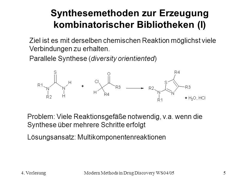 4. VorlesungModern Methods in Drug Discovery WS04/055 Synthesemethoden zur Erzeugung kombinatorischer Bibliotheken (I) Ziel ist es mit derselben chemi