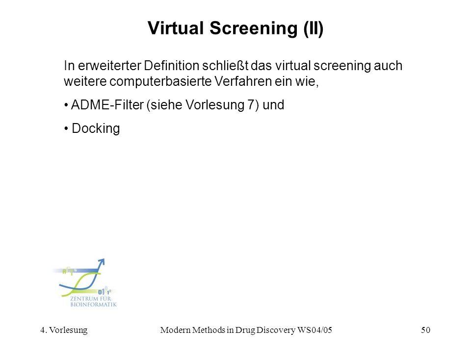 4. VorlesungModern Methods in Drug Discovery WS04/0550 Virtual Screening (II) In erweiterter Definition schließt das virtual screening auch weitere co