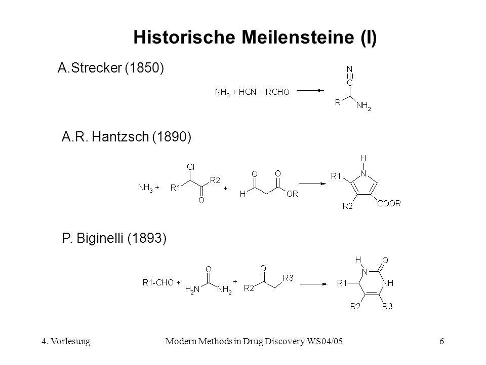 4. VorlesungModern Methods in Drug Discovery WS04/056 Historische Meilensteine (I) A.Strecker (1850) A.R. Hantzsch (1890) P. Biginelli (1893)