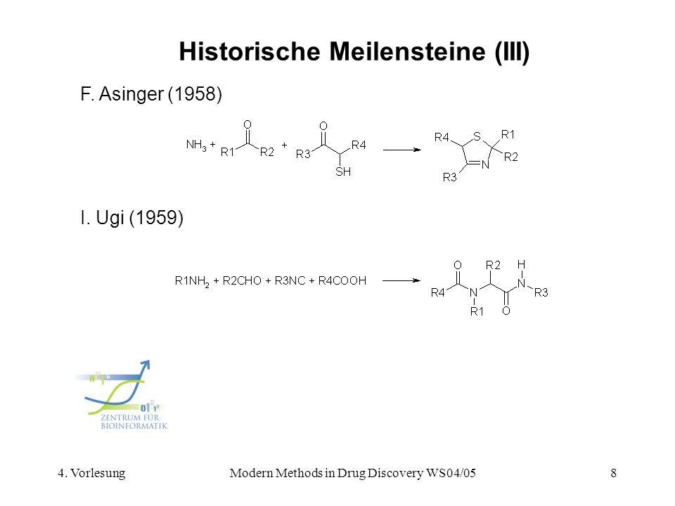 4. VorlesungModern Methods in Drug Discovery WS04/058 Historische Meilensteine (III) F. Asinger (1958) I. Ugi (1959)