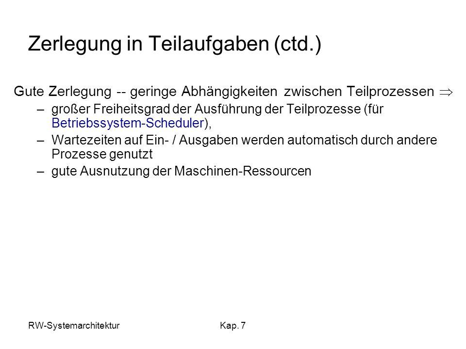RW-SystemarchitekturKap. 7 Zerlegung in Teilaufgaben (ctd.) Gute Zerlegung -- geringe Abhängigkeiten zwischen Teilprozessen –großer Freiheitsgrad der