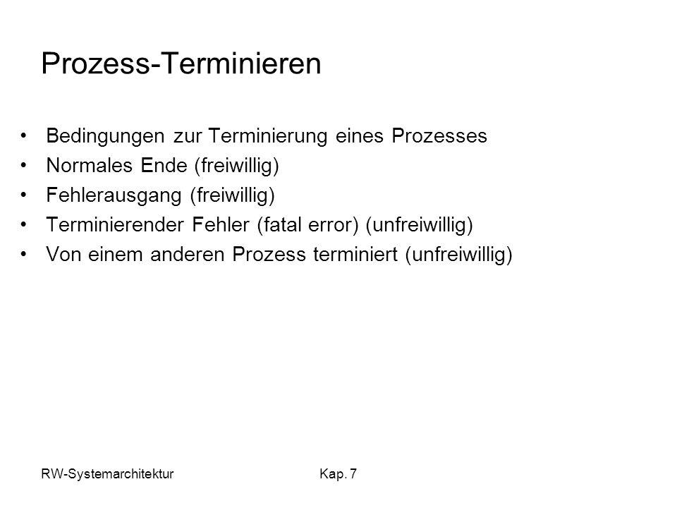 RW-SystemarchitekturKap. 7 Prozess-Terminieren Bedingungen zur Terminierung eines Prozesses Normales Ende (freiwillig) Fehlerausgang (freiwillig) Term