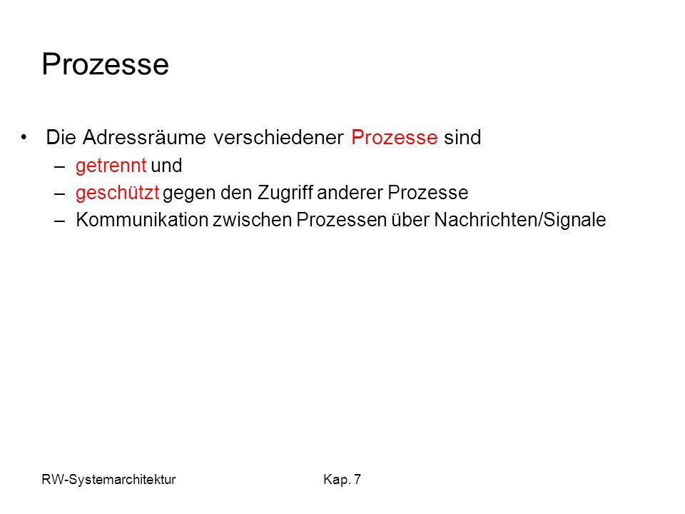 RW-SystemarchitekturKap. 7 Prozesse Die Adressräume verschiedener Prozesse sind –getrennt und –geschützt gegen den Zugriff anderer Prozesse –Kommunika