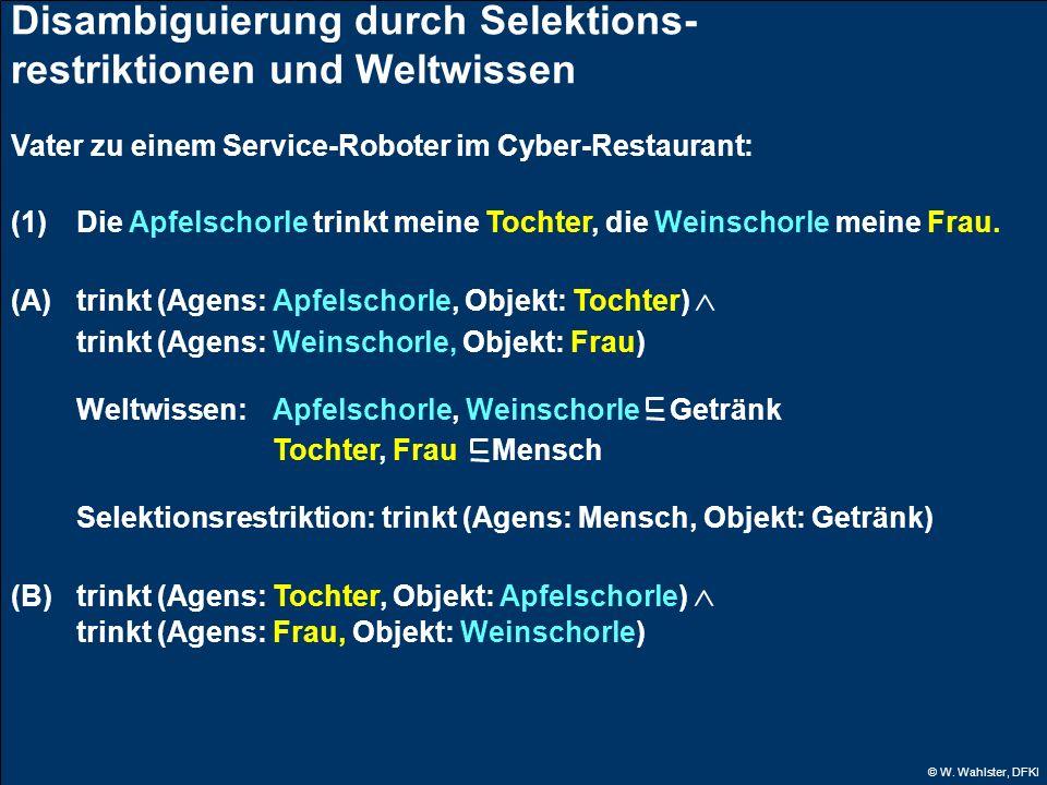 © W. Wahlster, DFKI Disambiguierung durch Selektions- restriktionen und Weltwissen Vater zu einem Service-Roboter im Cyber-Restaurant: (1)Die Apfelsch