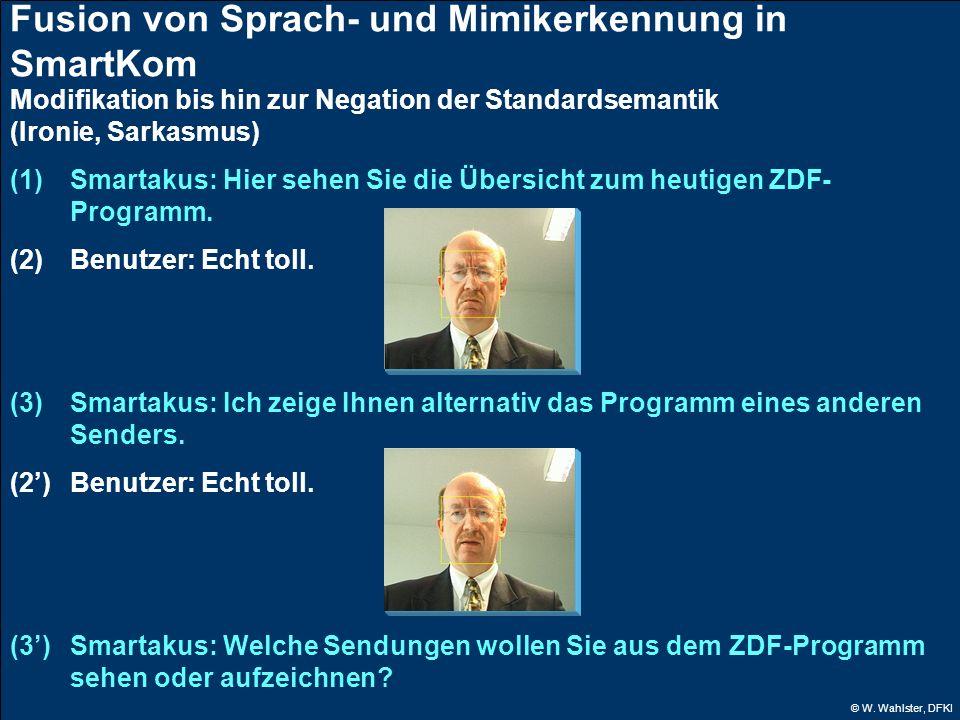 © W. Wahlster, DFKI Fusion von Sprach- und Mimikerkennung in SmartKom Modifikation bis hin zur Negation der Standardsemantik (Ironie, Sarkasmus) (1) S
