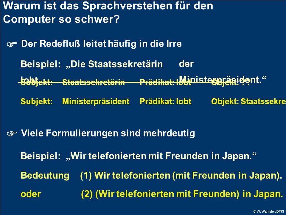 © W. Wahlster, DFKI Warum ist das Sprachverstehen für den Computer so schwer? Der Redefluß leitet häufig in die Irre Beispiel: Die Staatssekretärin lo