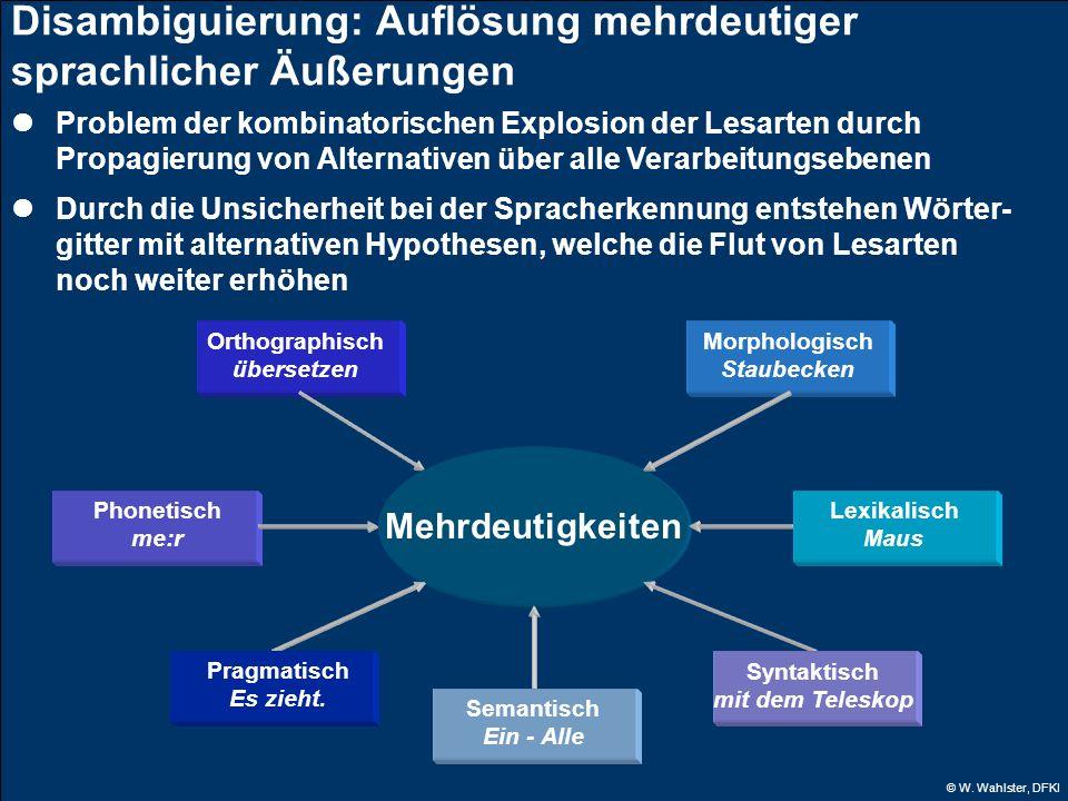 © W. Wahlster, DFKI Disambiguierung: Auflösung mehrdeutiger sprachlicher Äußerungen Problem der kombinatorischen Explosion der Lesarten durch Propagie