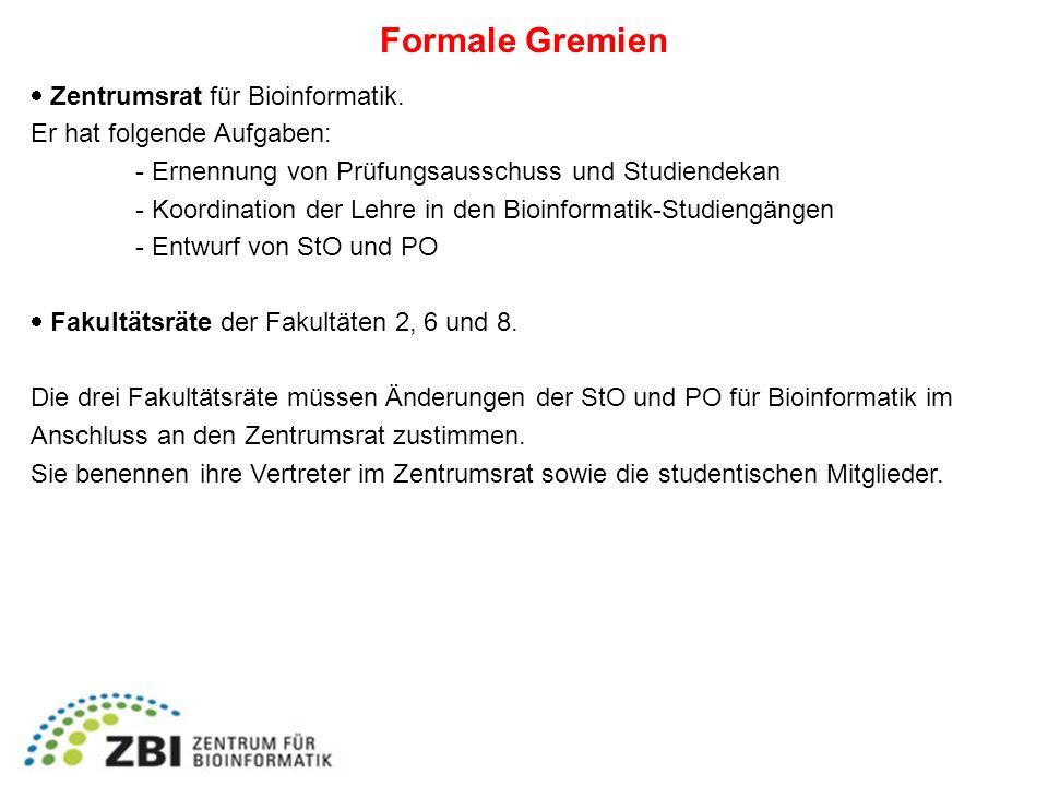 Formale Gremien Zentrumsrat für Bioinformatik. Er hat folgende Aufgaben: - Ernennung von Prüfungsausschuss und Studiendekan - Koordination der Lehre i