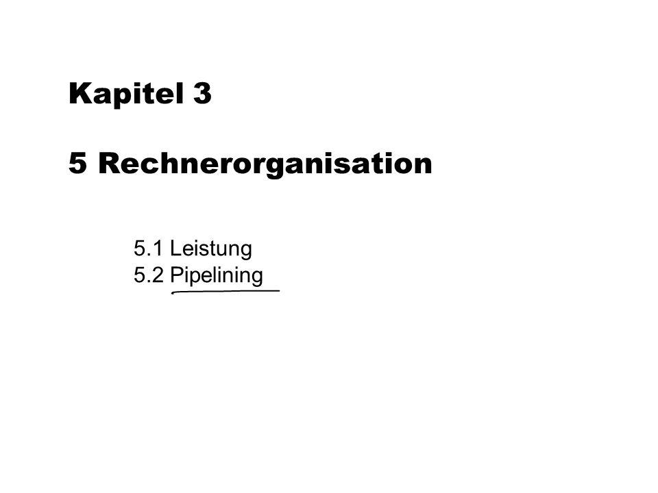 Kapitel 3 5 Rechnerorganisation 5.1 Leistung 5.2 Pipelining