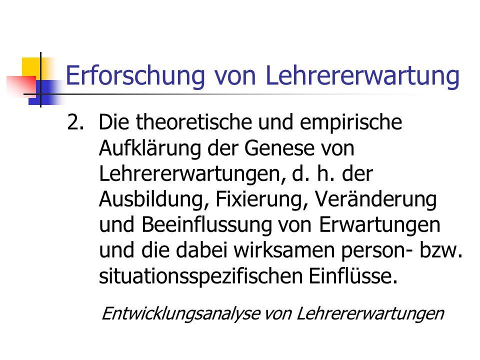 Erforschung von Lehrererwartung 1.