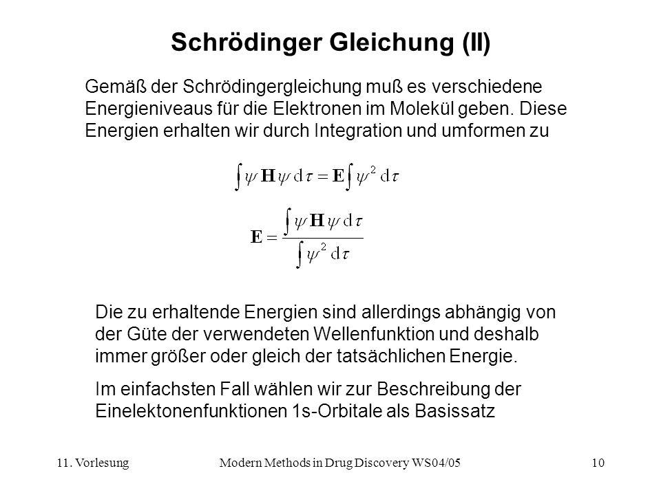 11. VorlesungModern Methods in Drug Discovery WS04/0510 Schrödinger Gleichung (II) Die zu erhaltende Energien sind allerdings abhängig von der Güte de