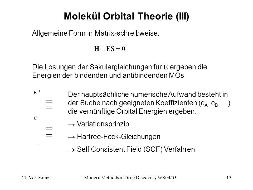 11. VorlesungModern Methods in Drug Discovery WS04/0513 Molekül Orbital Theorie (III) Allgemeine Form in Matrix-schreibweise: Die Lösungen der Säkular