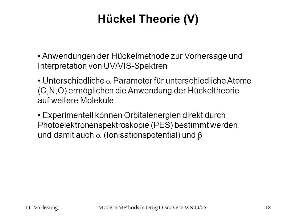 11. VorlesungModern Methods in Drug Discovery WS04/0518 Hückel Theorie (V) Anwendungen der Hückelmethode zur Vorhersage und Interpretation von UV/VIS-