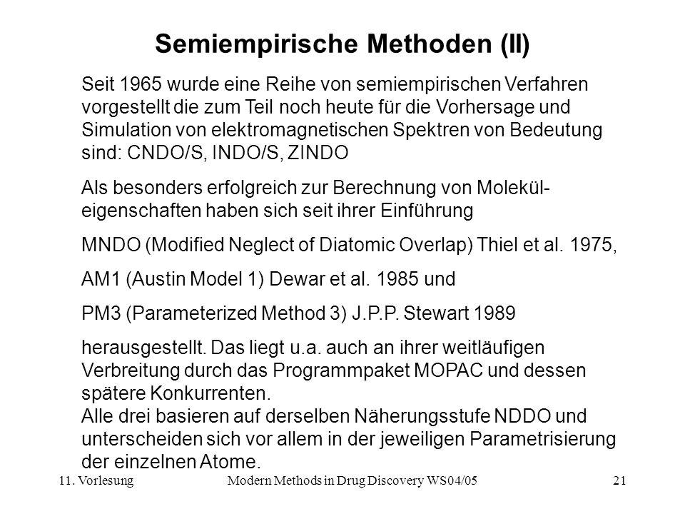 11. VorlesungModern Methods in Drug Discovery WS04/0521 Semiempirische Methoden (II) Seit 1965 wurde eine Reihe von semiempirischen Verfahren vorgeste
