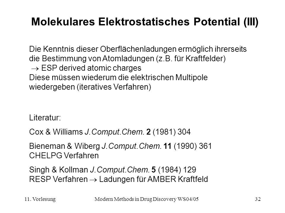11. VorlesungModern Methods in Drug Discovery WS04/0532 Molekulares Elektrostatisches Potential (III) Die Kenntnis dieser Oberflächenladungen ermöglic