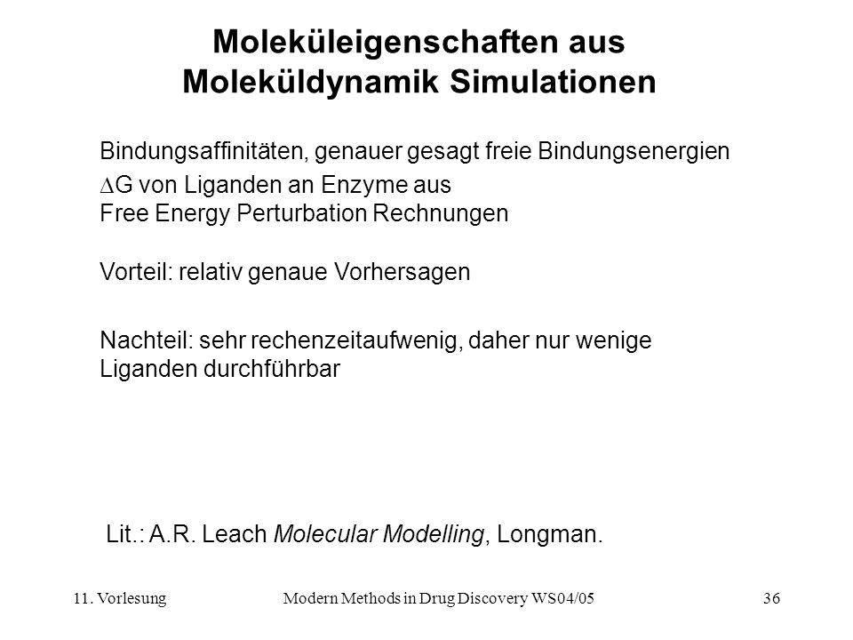 11. VorlesungModern Methods in Drug Discovery WS04/0536 Moleküleigenschaften aus Moleküldynamik Simulationen Bindungsaffinitäten, genauer gesagt freie