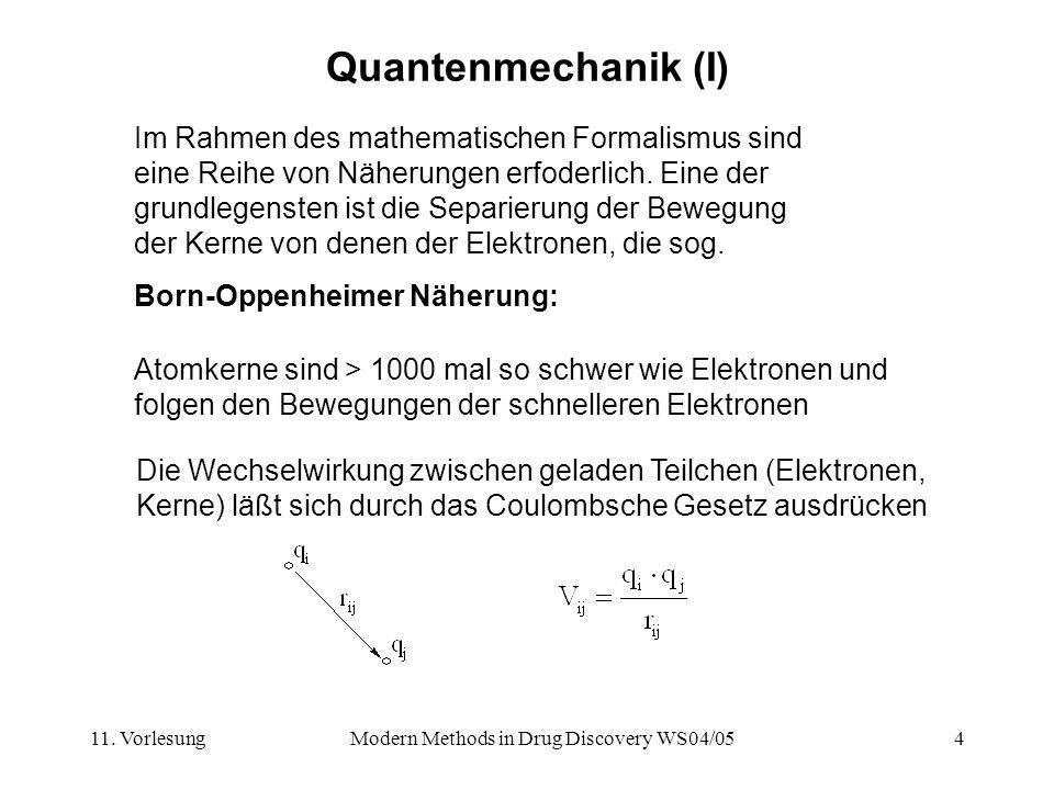 11. VorlesungModern Methods in Drug Discovery WS04/054 Quantenmechanik (I) Im Rahmen des mathematischen Formalismus sind eine Reihe von Näherungen erf