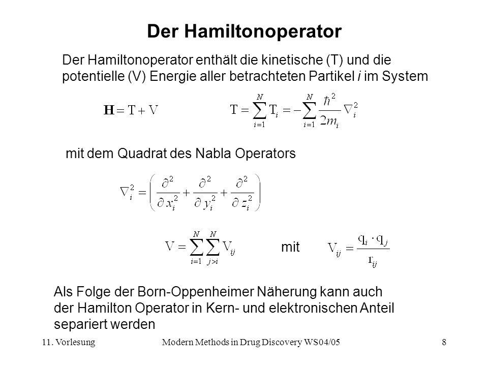 11. VorlesungModern Methods in Drug Discovery WS04/058 Der Hamiltonoperator mit dem Quadrat des Nabla Operators Der Hamiltonoperator enthält die kinet