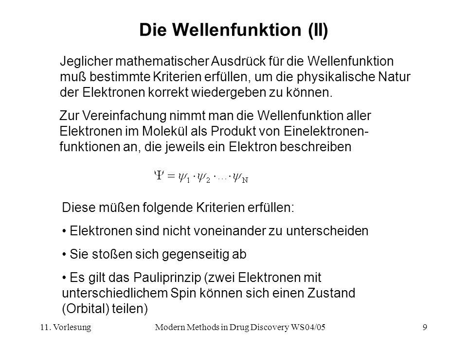11. VorlesungModern Methods in Drug Discovery WS04/059 Die Wellenfunktion (II) Zur Vereinfachung nimmt man die Wellenfunktion aller Elektronen im Mole