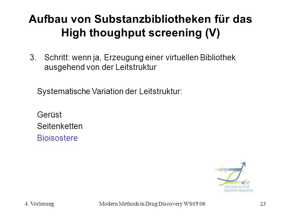 4. VorlesungModern Methods in Drug Discovery WS05/0623 Aufbau von Substanzbibliotheken für das High thoughput screening (V) 3.Schritt: wenn ja, Erzeug