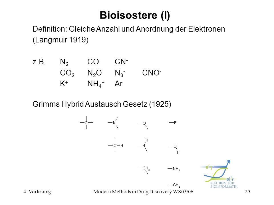 4. VorlesungModern Methods in Drug Discovery WS05/0625 Bioisostere (I) Definition: Gleiche Anzahl und Anordnung der Elektronen (Langmuir 1919) z.B.N 2